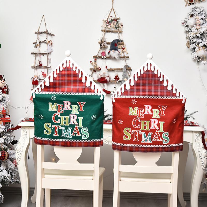 Personnalité de Noël Accueil Chair Set Lettre Fashion Imprimé Chaise Creative Housses pour Décoration de Noël Fournitures de fête
