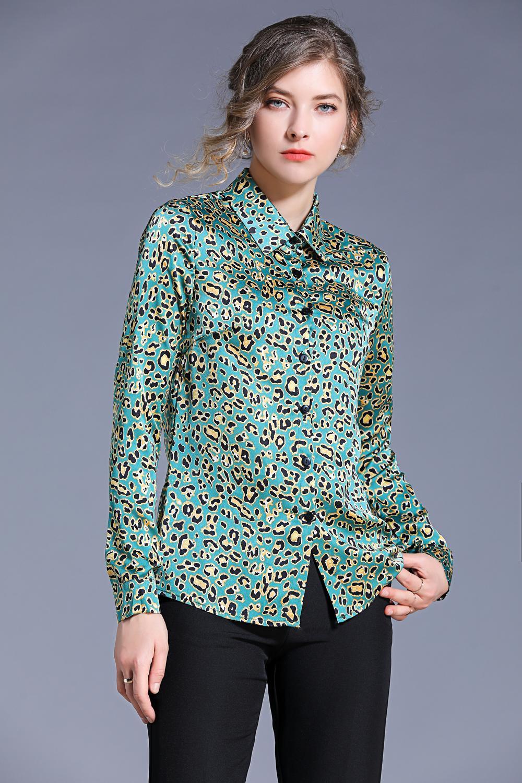 2020 İlkbahar Yaz Sonbahar Pist Vintage Baskı Yaka Uzun Kollu Düğmesi Ön Kadın Bayanlar Casual Ofis Çalışması Parti Vaction Üst Gömlek Bluz