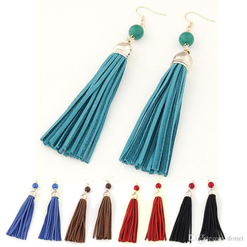 Boho Style Leather Long Tassel Earrings Nature Beads Gold Earrings for Women Dangle Earrings Gifts Jewelry