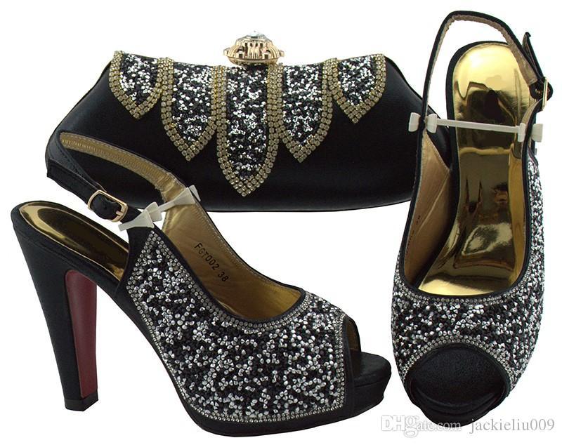 Las nuevas mujeres negras de la moda combinan con el conjunto de bolsos con zapatos africanos de strass y una bolsa para el vestido FGT002, tacón 12 CM