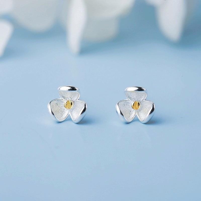 1 Pair 925 Sterling Silver Studs Earrings with Silicone Back for Women Girls