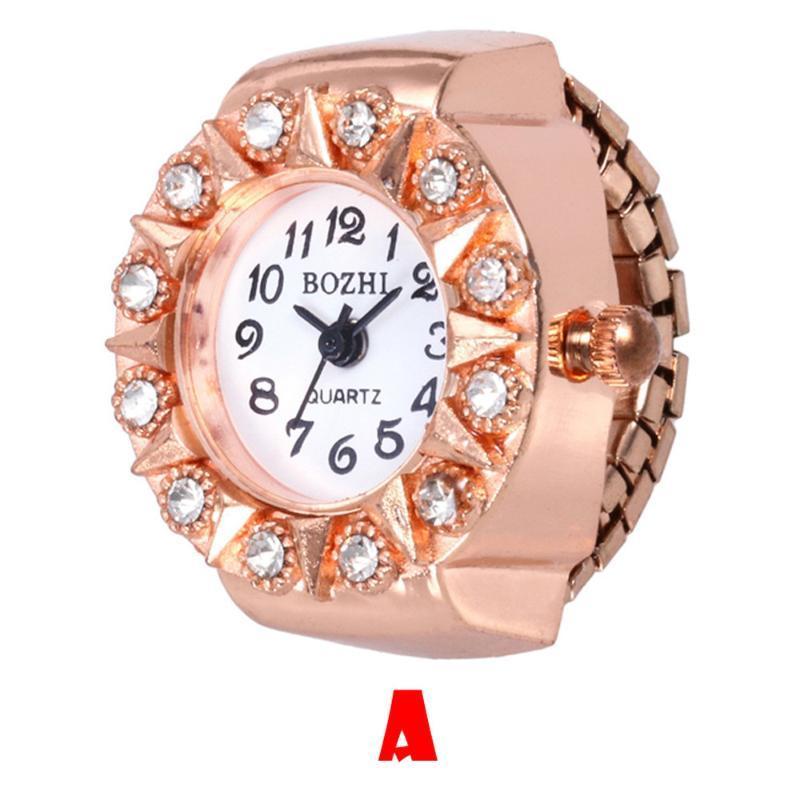 Heißer Verkauf Vorwahlknopf-Quarz-analoge Uhr Kreative Stahl cool elastischen Quarz-Finger-Ring-Uhr-Tropfen-Verschiffen relojes para mujer