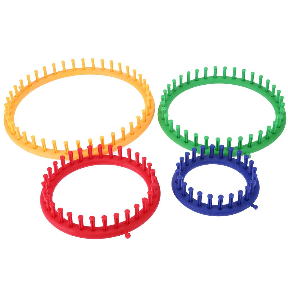 4 Size Colorful Knitting Machine Knitting Loom Set Round Circle Knitter Yarn Needles Hook Sewing Tools for Hats Scarves