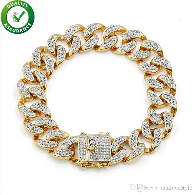 Mens Bracelets Hip Hop Jewelry Iced Out Cubic Zircon Cuban Chain Gold Bracelet Luxury Designer Love Bangle Fashion Brand CZ Diamond Rapper