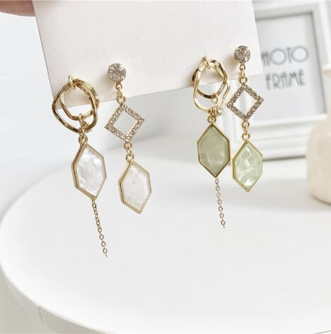 Crystal Fashion brincos geometria assimétrica longa borla temperamento brincos coringa Dangle Brincos fo mulheres fazer jóias