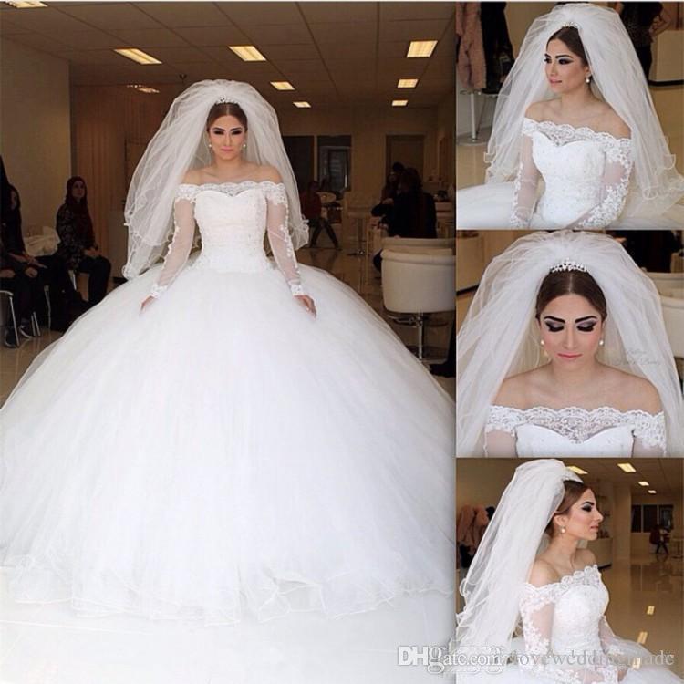 매력적인 아랍어 공 가운 웨딩 드레스 바투 목 긴 소매 바닥 길이 얇은 명주 그물 치마 아첨 베드 비치 신부 가운