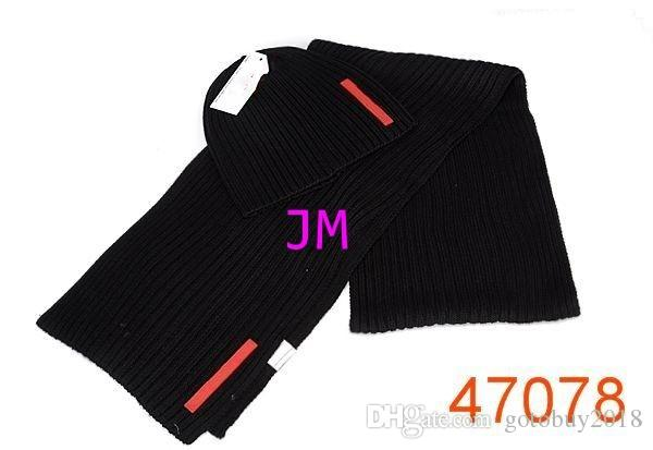 2018 hot sale luxury knitting hats good quality fashion cheap Beanie cap men's women's winter warm hats and Scarves Sets