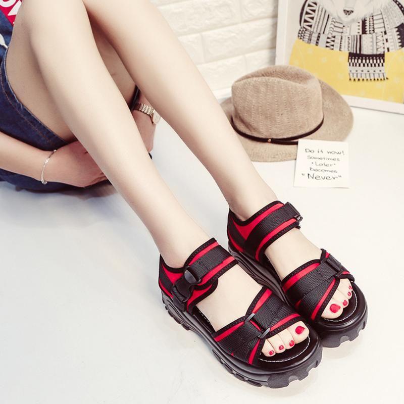 JAYCOSIN Sandals Mulheres Sólidos Calçados cor feminina Ladies respirável Moda boca de peixe grossas Plataforma Wedges preguiçosos Sandálias Sapatos