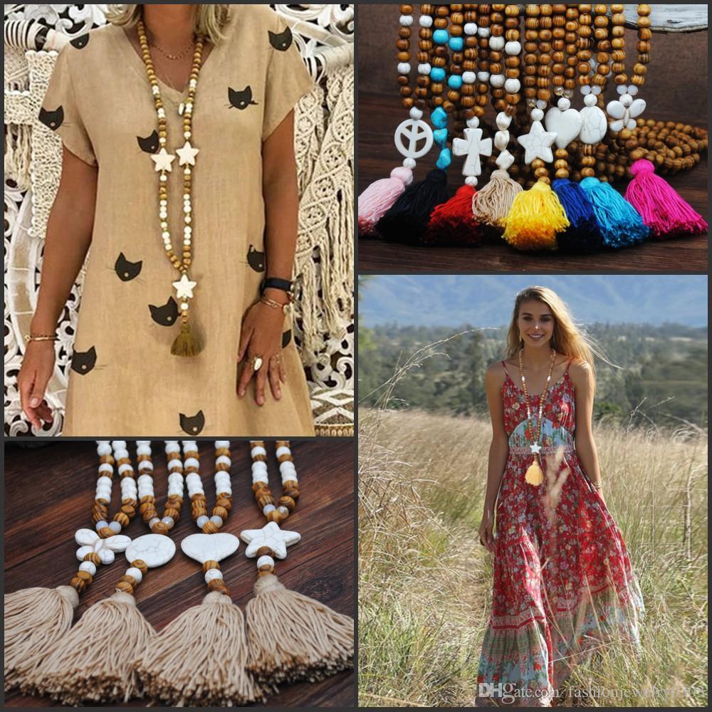 اكسسوارات البوهيمي اليدوية الكتان قلادة طويلة ملونة شرابة خشبية الخرز قلادة مجوهرات الماركة الفيروز قلادة