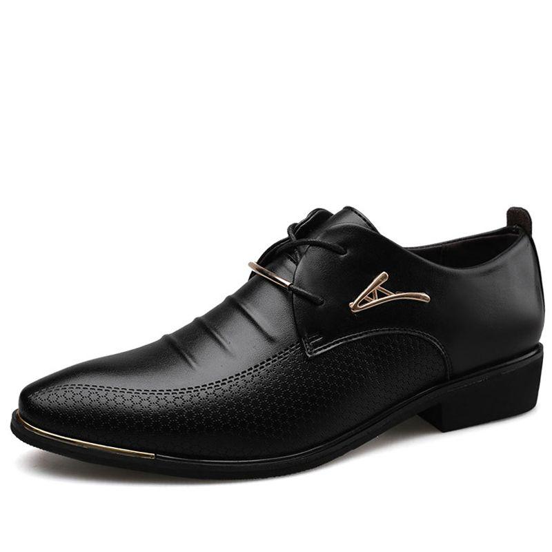 Os homens de couro formais Shoes Lace Up Dress Shoes Oxfords moda retro elegante trabalho Footwear Men Dress Shoes
