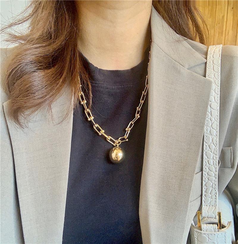 العلامة التجارية الشرير قلادة خمر بك كبير سلاسل المختنقون القلائد للنساء مجوهرات القوطية المعادن الكرة قلادة قلادة سلسلة القوطي بيجو 2020