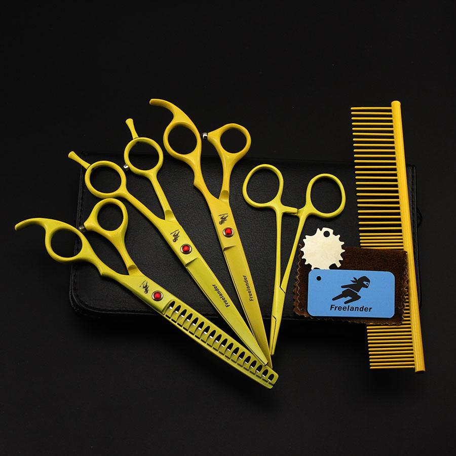 7 pulgadas Profesional Japón corte del perro 440C preparación del animal doméstico Tijeras Set Tijeras adelgazamiento del cabello tijeras curvo con el peine bolsa