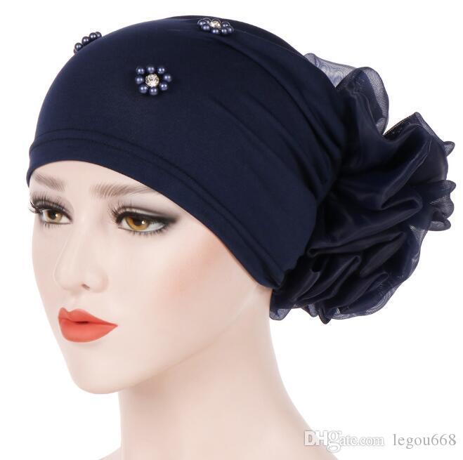 Nouveau femmes Perte de cheveux Cap Bonnet skullies Perles Fleur Chemo Cancer musulman Chapeau islamique indien Cover Head Bonnet écharpe de mode GB1321