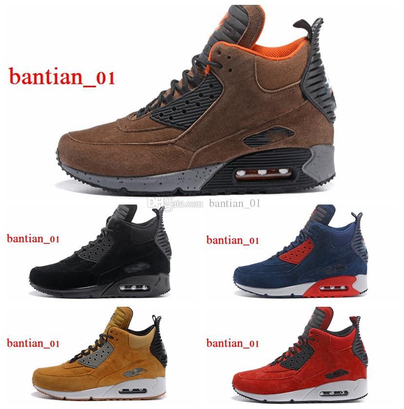 Acheter Suede 90 MID Chaussures De Course Pour Homme Classique Des Années 90 Sneakerboot Noir Vert Sports Pluie Neige Botte D'hiver Hommes Baskets