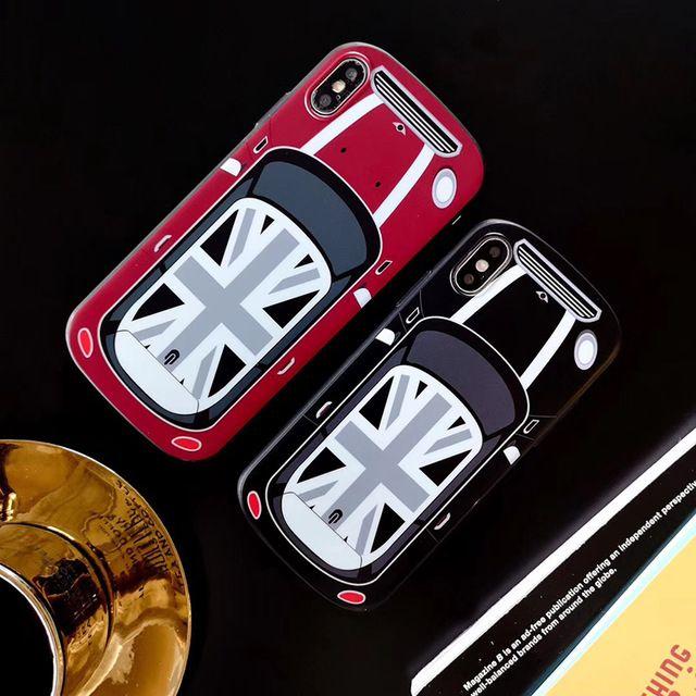 Nouvelle Voiture Mignonne Douce Étui En Silicone Pour Iphone 6 S Plus 7 7plus 8 8plus X XS XR Max Royaume Uni Drapeau National MINI Cooper Téléphone ...
