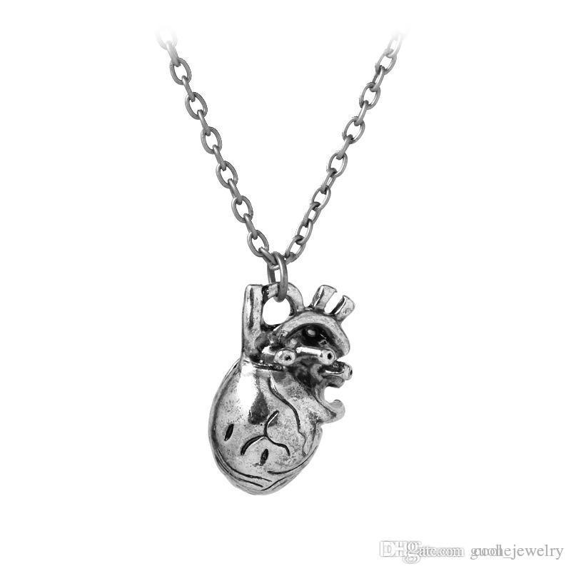 Halskette Männer-Anatomie-Herz-Halskette der Retro- Herz-Anhänger-Halskette der populären Europa- und Amerika-Männer freies Verschiffen