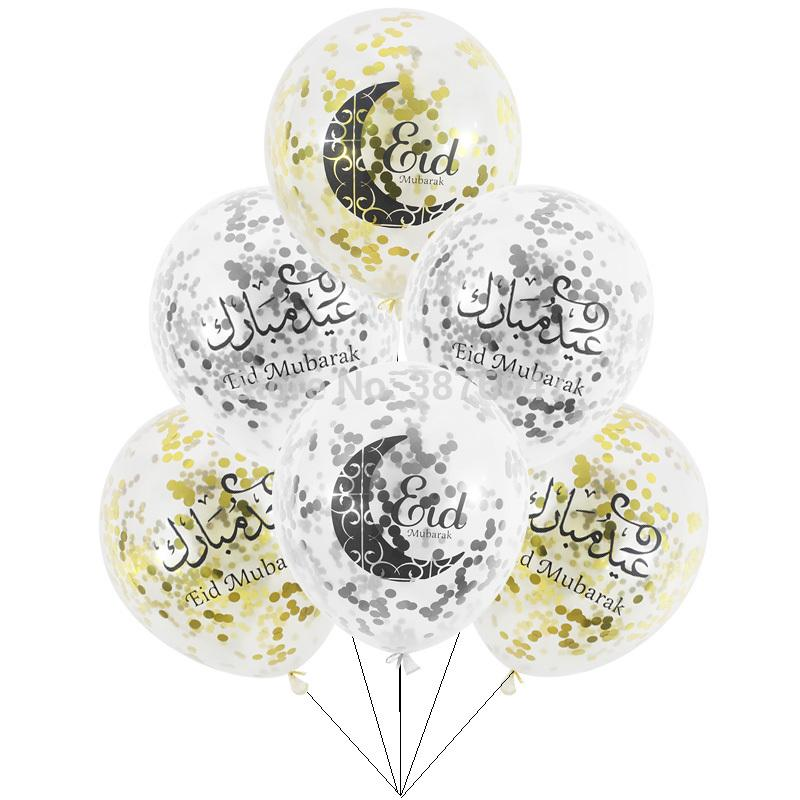 Eid Mubarak Balloons Happy Eid Balloons Happy Ramadan Muslim Festival Decoration Islamic New Year Clear Confetti From Cosmose 8 18 Dhgate Com