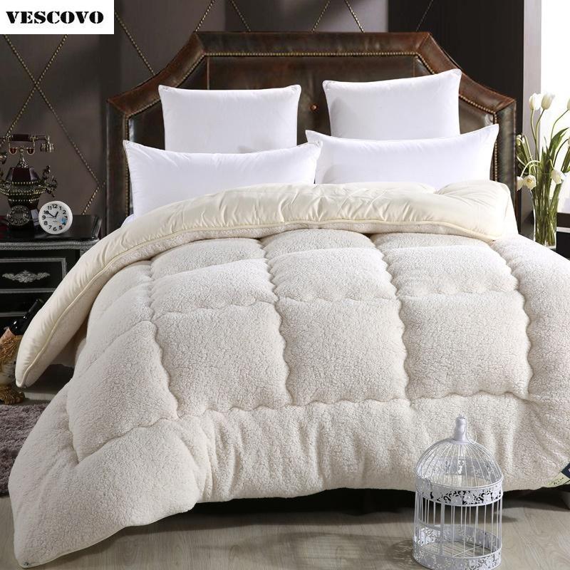 Al por mayor- Lana de lana de invierno cálido edredón de lana espesar edredón / edredón / manta Cordero Abajo Relleno de tela tamaño king queen