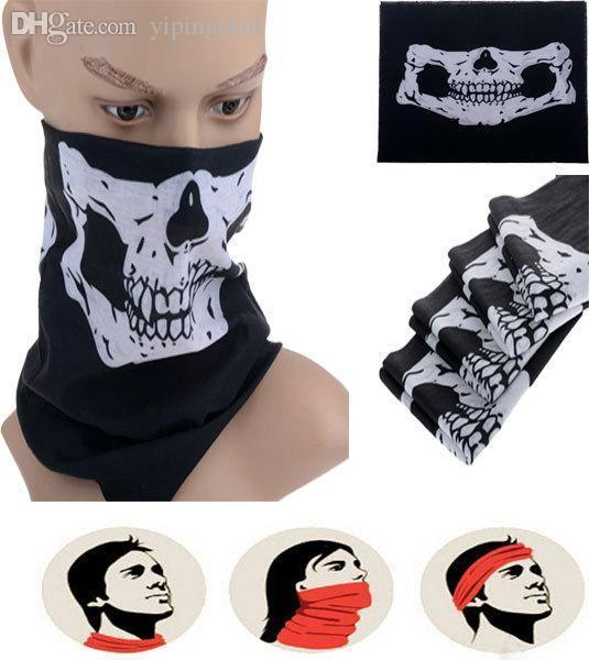 Wholesale-Black Skull Face Neck Warm Neckerchief Bike Motorcycle Wind Dust Protect Mask Multifuctional Skeleton Halloween Mask New Arrival