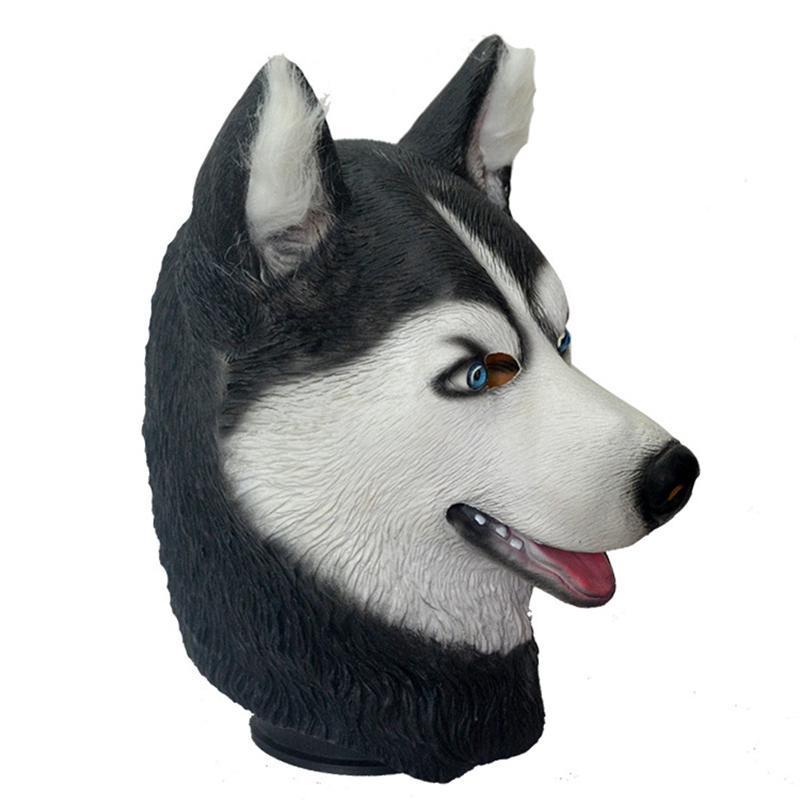 Halloween latex masque d'Halloween Trick Party Simulation des animaux Husky Dog Head protection de l'environnement Matériel Masque Latex