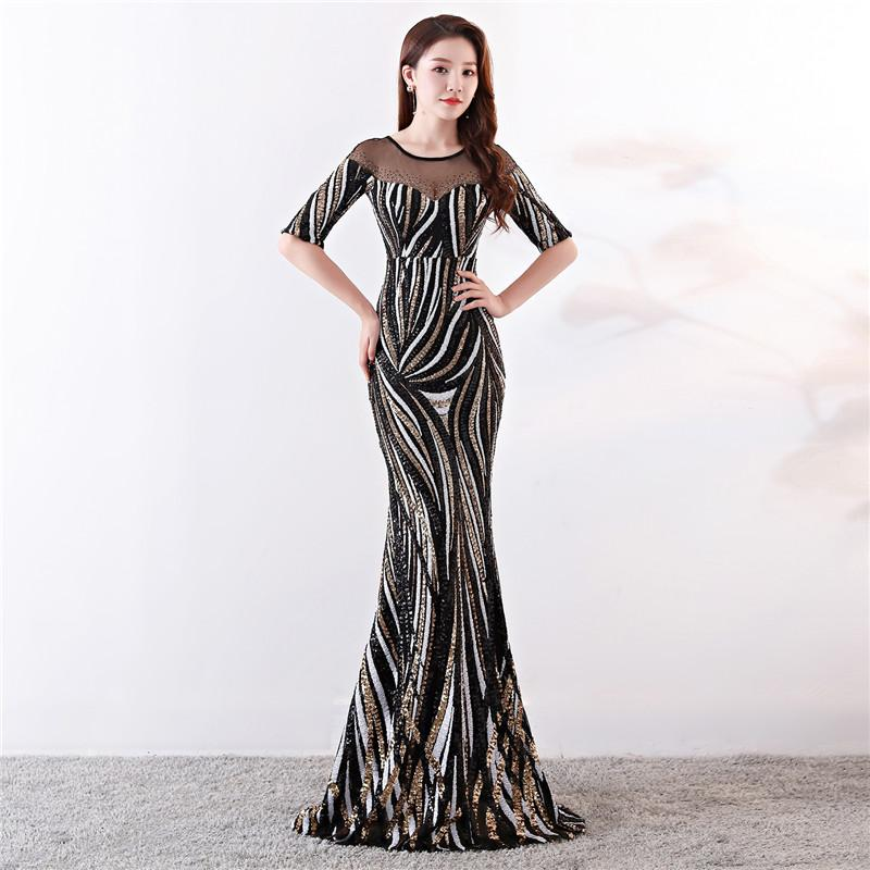 Elegant Crystal Beaded See Through Voile Shor Sleeve Mermaid Long Formal Dresses For Women 2018 Sexy Nightclub Wear Party Dress