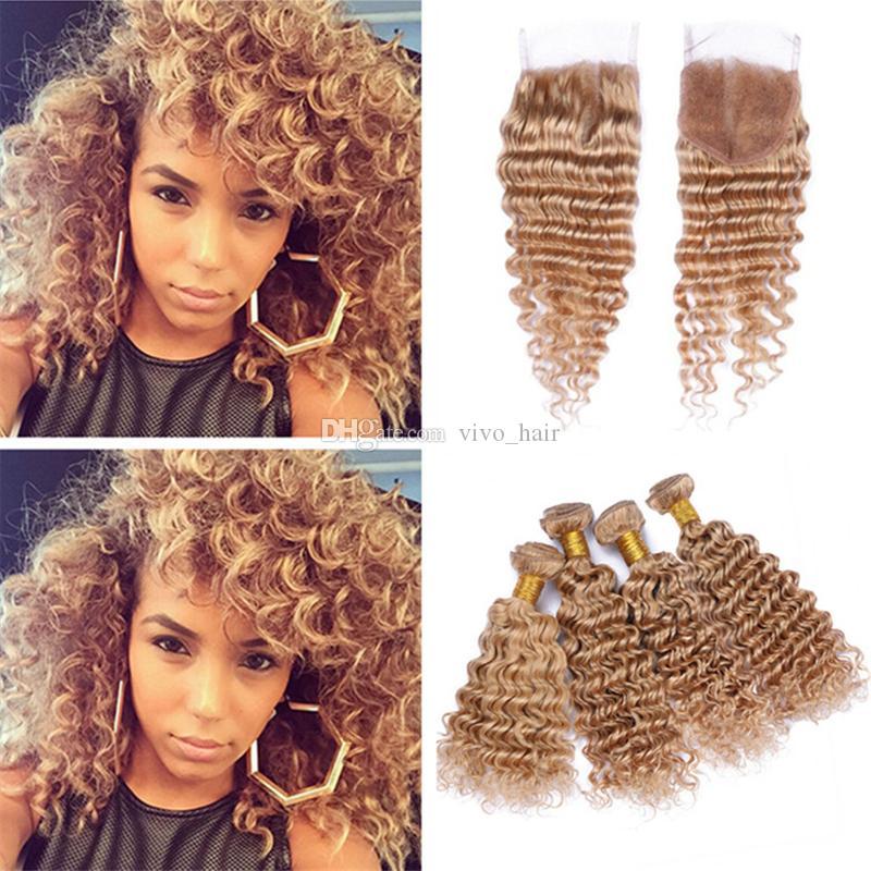 Deep Curly Brown Blonde Human Hair 4 Bundles with Lace Closure #27 Honey Blonde Deep Wave Virgin Peruvian Hair Weaves with Closure