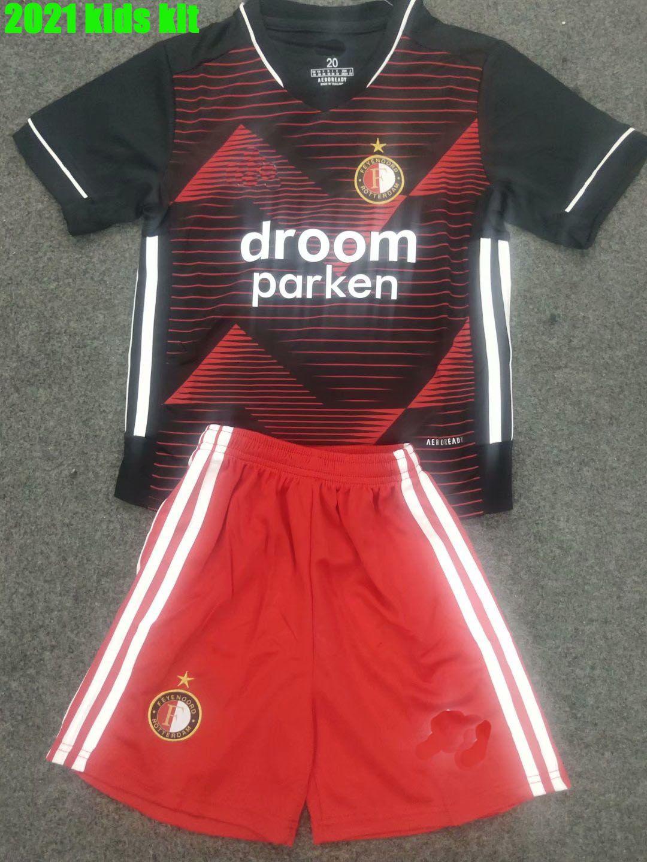 2021 Детей Фейеноорд прочь футбол Джерси наборы # 10 Berghuis Чирна рубашке футбола # 9 N.JORGENSEN # 19 BOZENIK Заказной футбола рубашка наборы