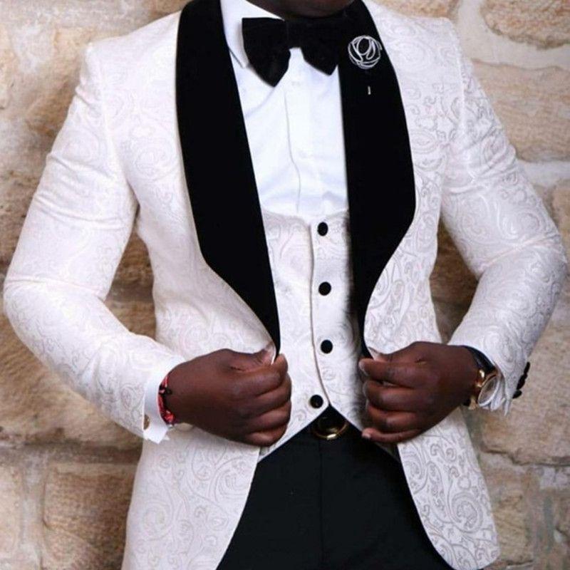 Herrenanzüge Blazers Kostüm Homme Groomsmänner Schal Revers Bräutigam Smoking Rot / Weiß / Schwarze Männer Hochzeit Mann Blazer (Jacke + Pants + Krawatte + Weste)