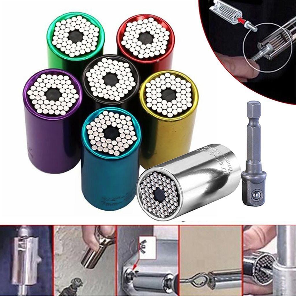 2 pc / insieme universale Torque Wrench Head Set Socket manica 7-19mm Power Drill Ratchet Boccola Chiave Magic Key Tools Hand Grip