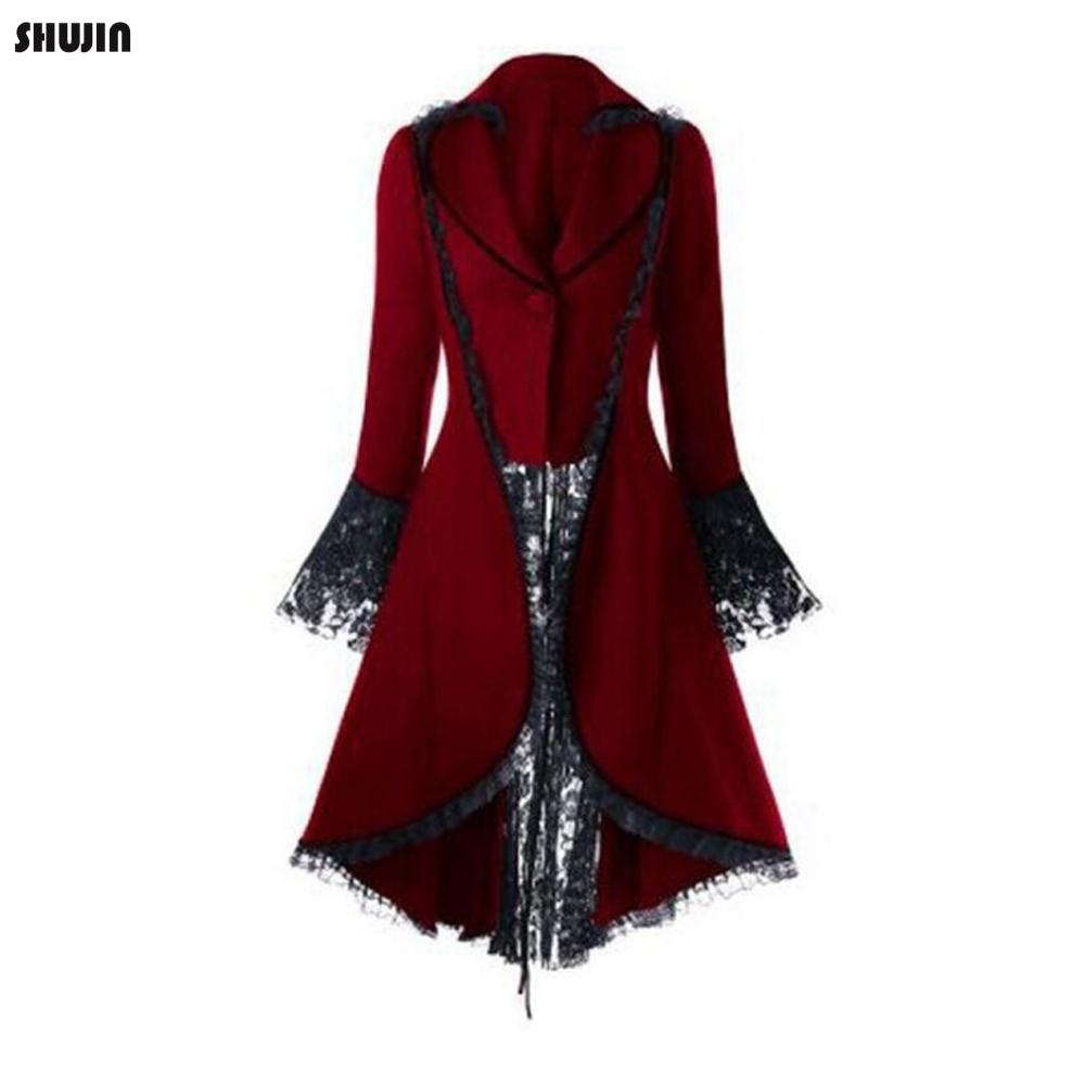SHUJIN 2019 Women Gothic Tailcoat Jacket Steampunk Tuxedo Suit Corset Halloween Costume Outfits Ladies Casual V Neck Jacket Coat