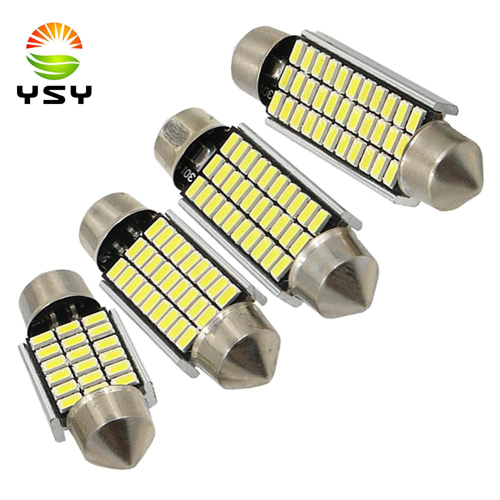 Ysy 300pcs Yüksek Kalite 31/36 / 39 / 41mm C5W 18 27 30 33 SMD 3014 Otomobil için LED Festoon Işık Canbus Hata Ücretsiz İç Doom Lamba Ampul