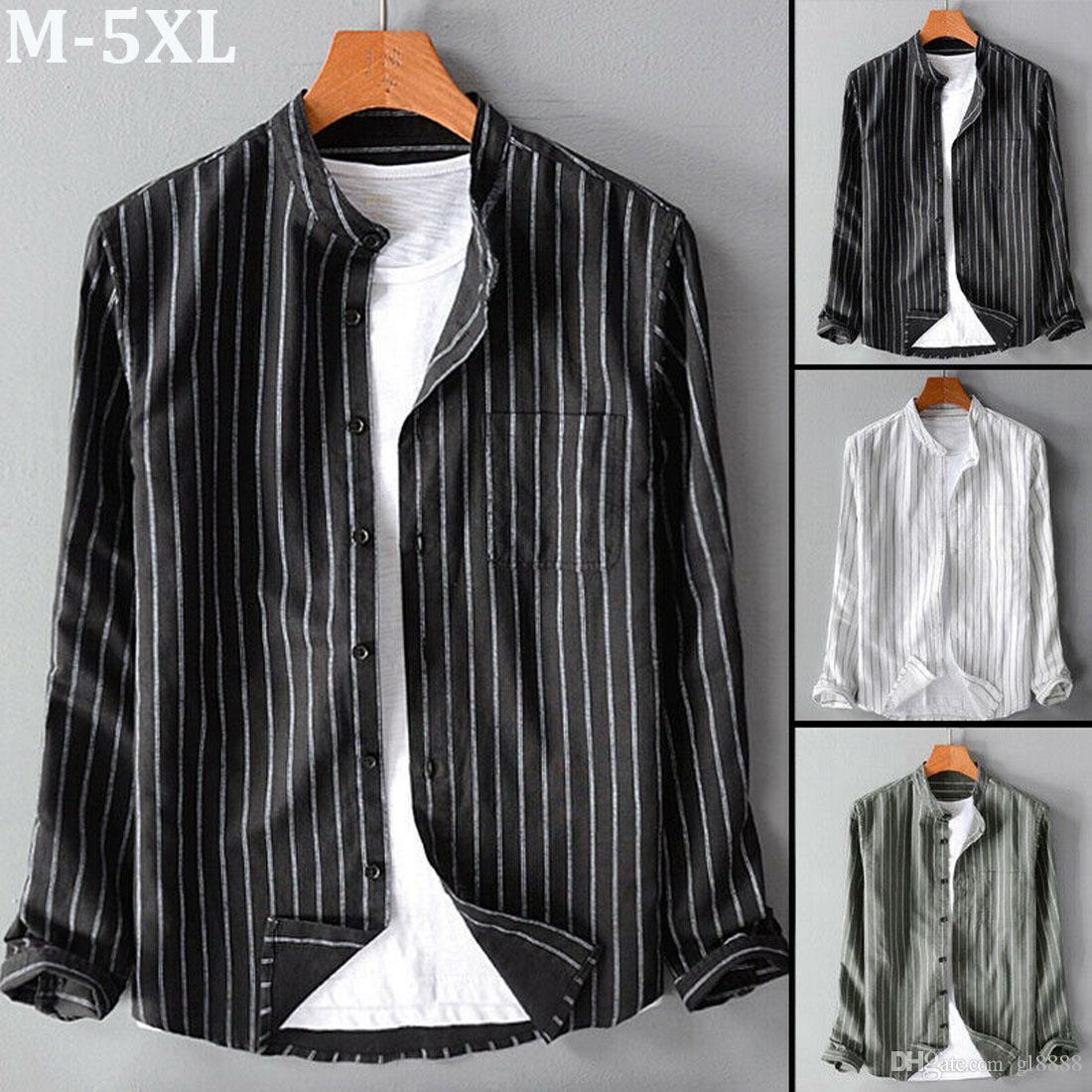 Men's Long Sleeve Slim Fit Striped Button Down Casual Shirt Dress Shirts Tops