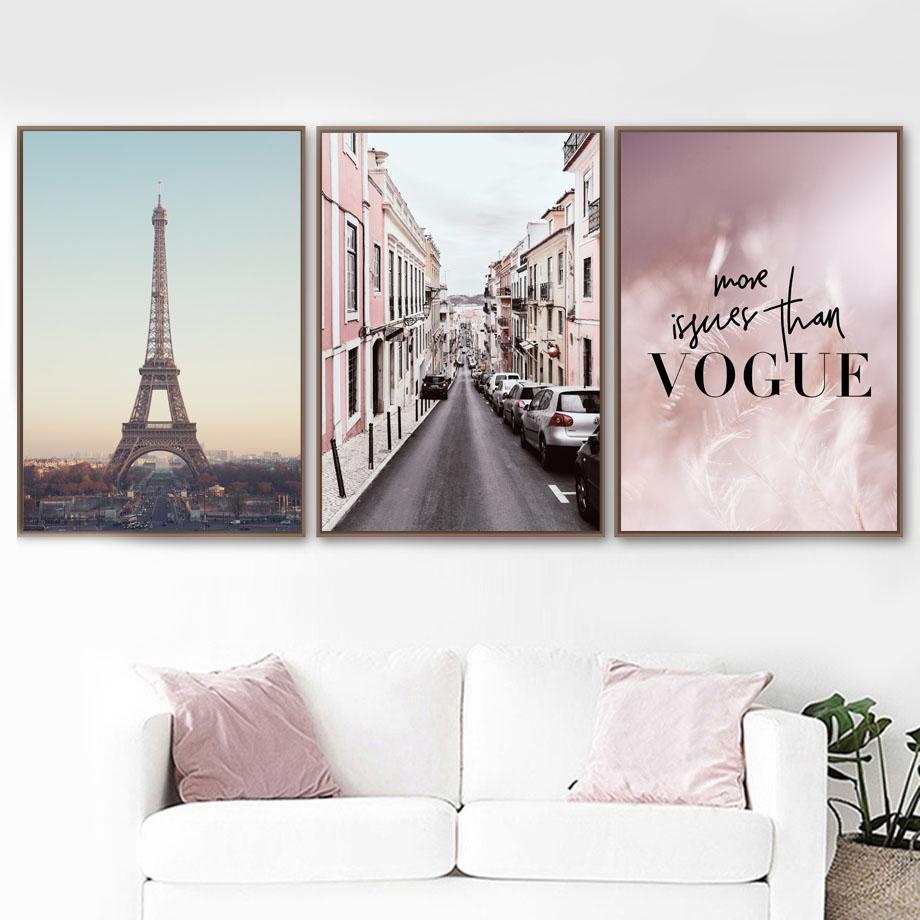 핑크 깃털 파리 타워 도로 벽 예술 캔버스 VOGUE 북유럽 포스터를 그림과 인쇄 벽 사진을 거실 홈 인테리어