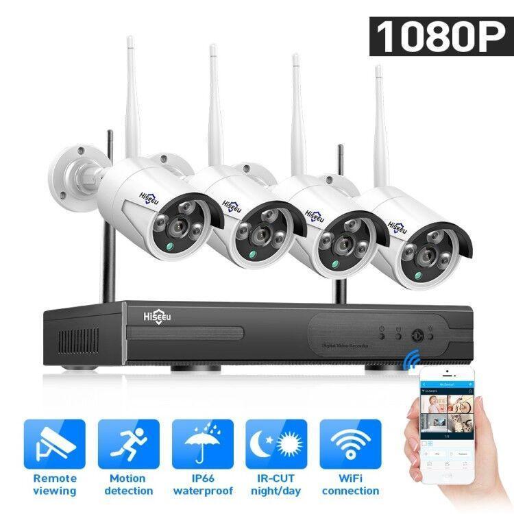نظام مراقبة Hiseeu 4CH CCTV نظام لاسلكي 960P NVR WIFI IP كاميرا رصاصة الأمن الرئيسية كيت الاتحاد الأوروبي التوصيل