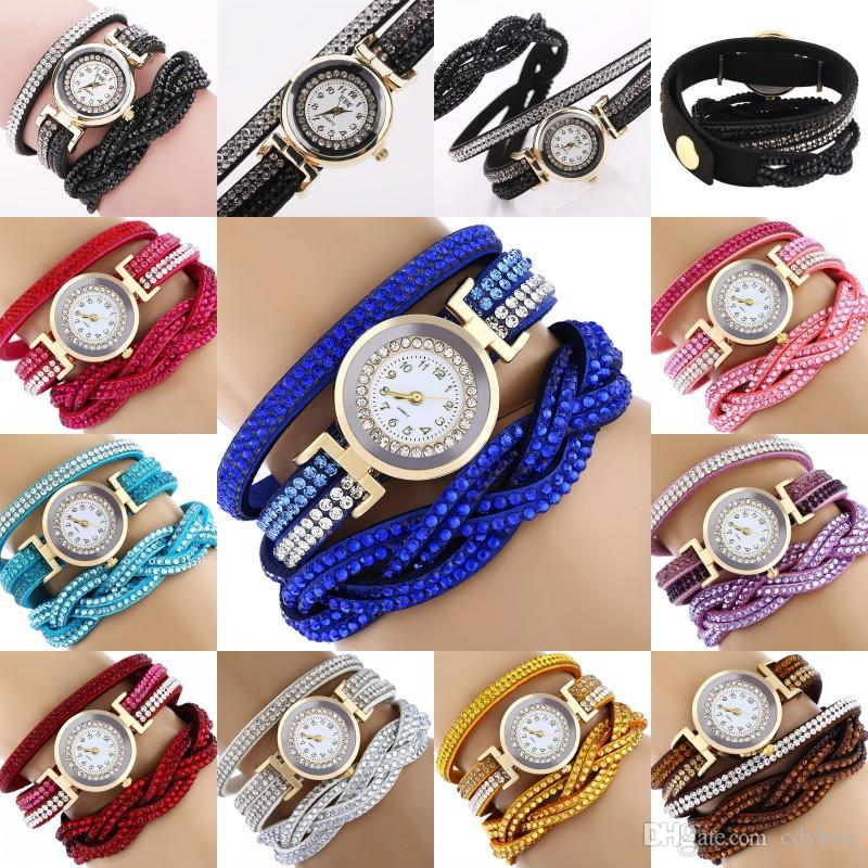 New Styles Diamond Winding Watch Women Luxury Quartz Wristwatches For Girls Fashion Accessories 10 Colors for Choose
