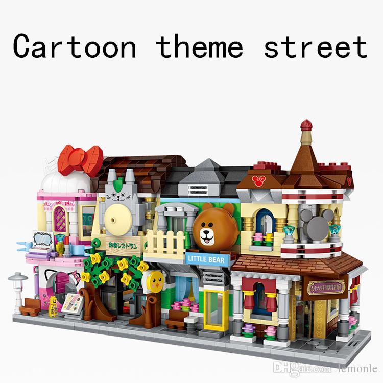 3 مجموعات البيت متجر التسوق الشارع أطفال اللبنات الطوب الفتيات والفتيان عيد الميلاد جائزة اللعب عيد الميلاد هدية