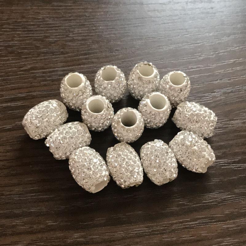 Loosa mayor DIY perlas de 18 mm x 13 mm arcilla los granos cristalinos de los granos grandes del barril del grano del agujero del Rhinestone para los pendientes collar de la pulsera