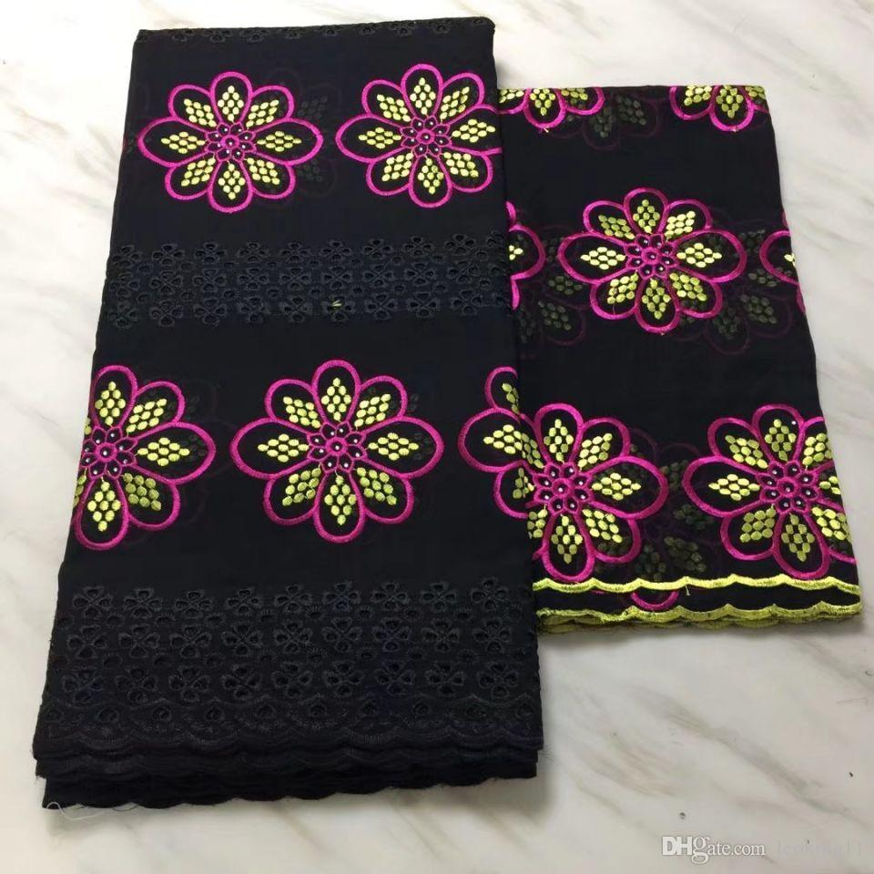 5Yards New fashion black african cotton fabric with flower embroidery and 2Yards french net lace set for dress BC40-1