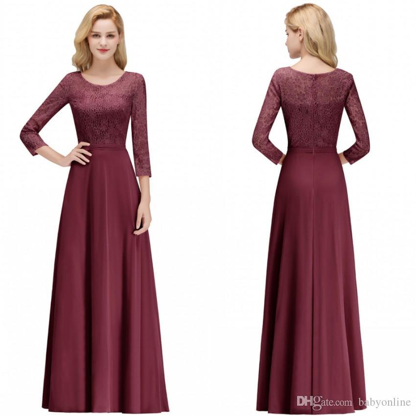 Modest Burgundy Lace Mother of the Bride Dresses Crew Neck Long Sleeve Prom Evening Gowns Bridesmaids Dress Custom Made bm0056