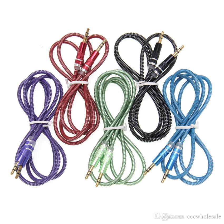 UV Frühling Audio Kabel 3,5 Jack AUX Audio Kabel 3,5 MM Stecker auf Stecker Kabel Für Telefon Autolautsprecher MP4 Kopfhörer 100 stücke
