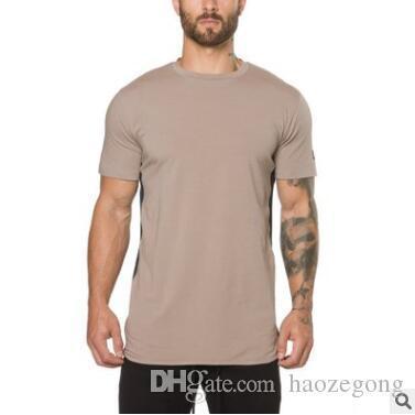 Kasetli Yaz Günlük Moda Spor Salonları Spor Vücut Geliştirme Tişörtlü Erkek İnce Tees ile Yeni Erkekler Kısa Kollu T-shirt Giyim Tops