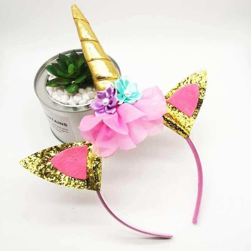 Unicorn Flower Cat Ears Headbands Children Headwear Photo Props Party Hair Hoop