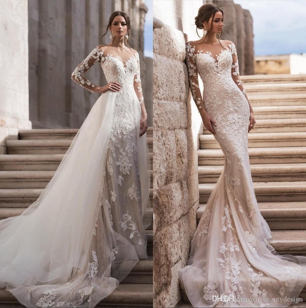 Ayrılabilir Etek 2020 Tül Aplike Sweep Tren Gelinlik elbiseler de mariée ile Şeffaf Boyun Uzun Kollu Dantel Deniz Kızı Gelinlik