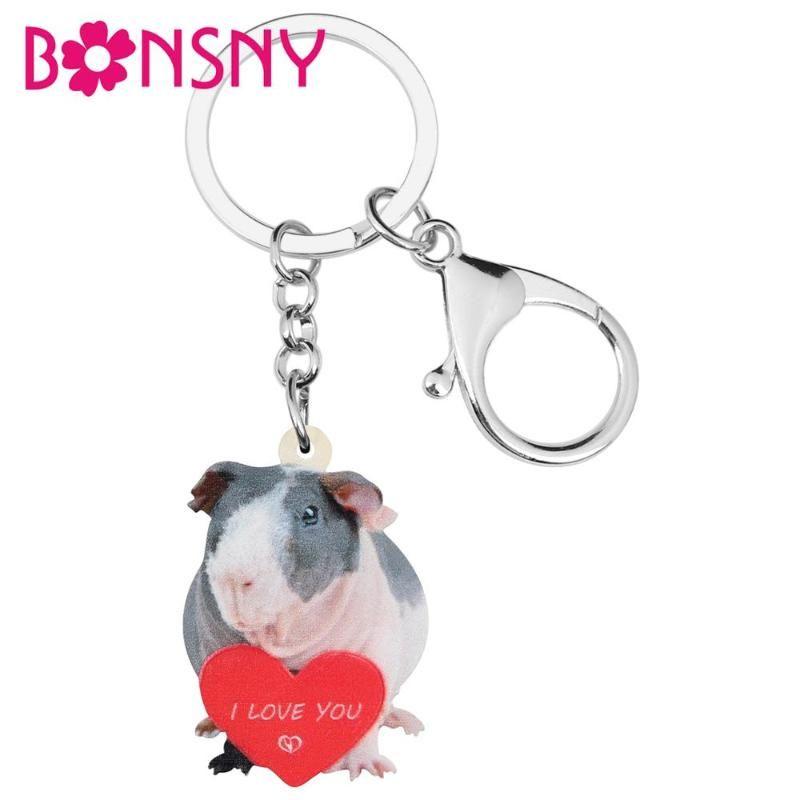 Jour Acrylique Valentine Love Guinée Pig Clé de chaîne anneau sac sac voiture Décorations Porte-clés pour les femmes filles ados hommes cadeau