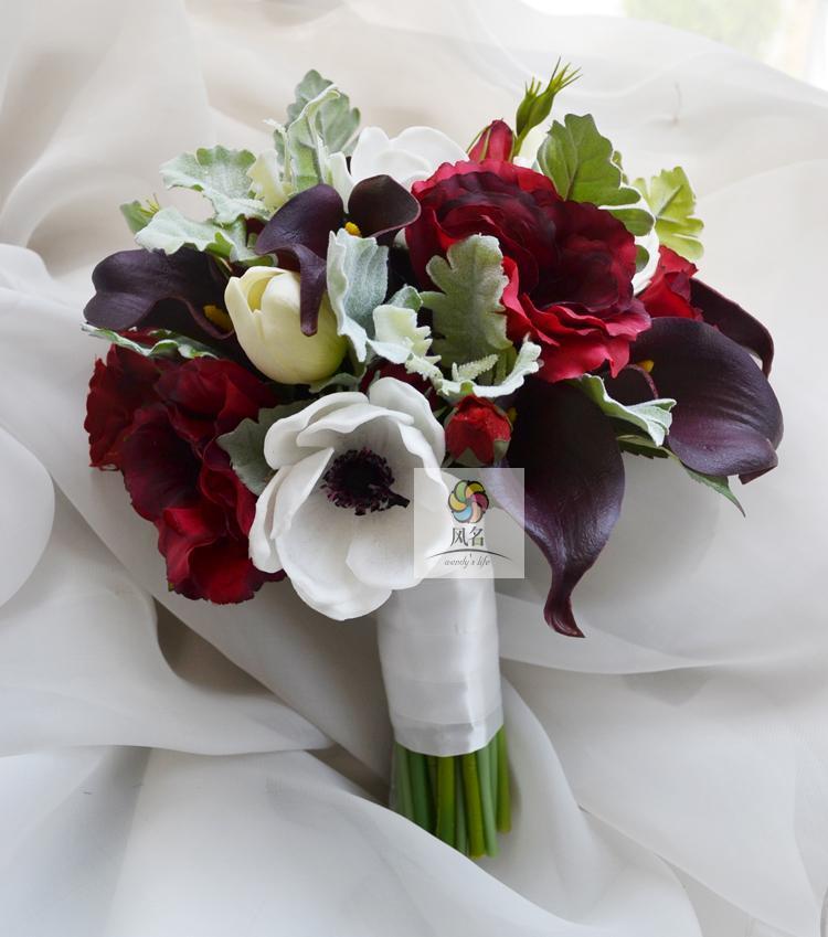 Romantic Wedding Bouquet nupcial da flor Simulação Floral Flower Tabela flores artificiais Ramos Handmade Casamento Casa