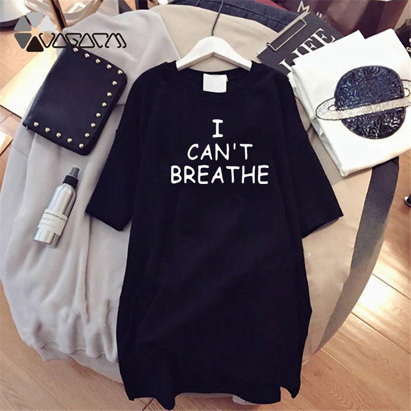 2020 delle donne da posso non respirare i SUMMMER modo delle donne lettera stampata Vestito allentato Street Style NERO VITE Abiti MATERIA