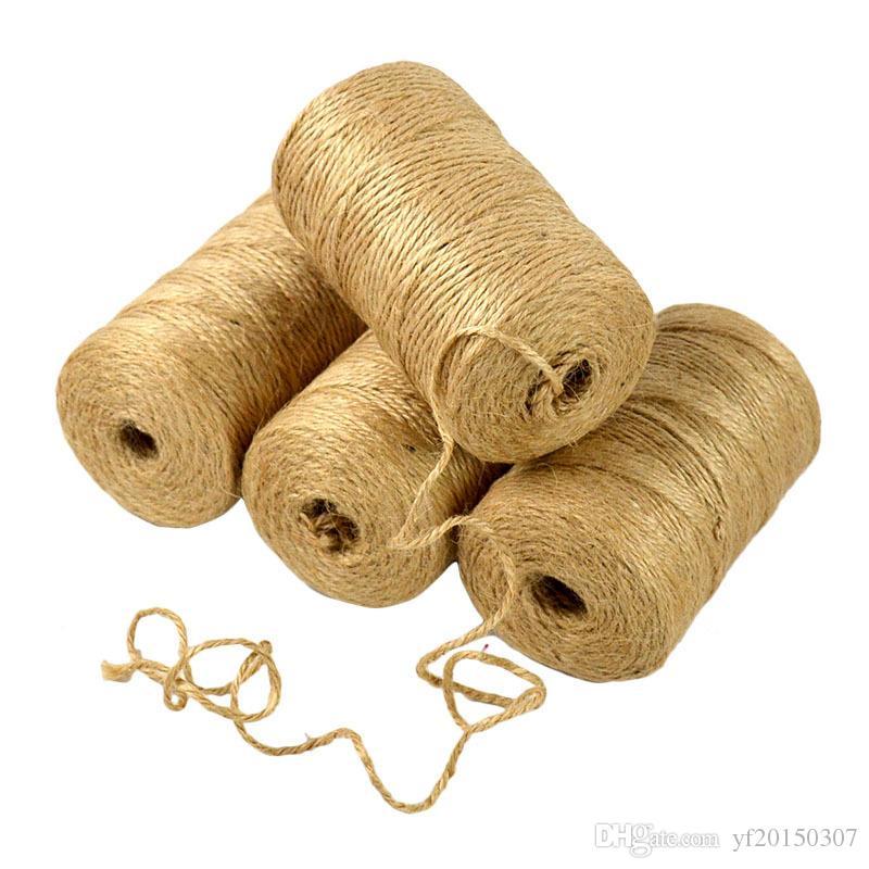Natural Yute Twine Burlap String Floristerías 100 m Cuerdas tejidas de cáñamo envolver cordones DIY decoración para el banquete de boda