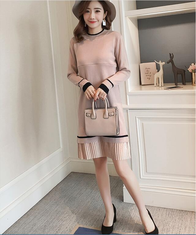 Fashion Postpartum Women Lactation Dress Long Sleeve Knitting Cotton Patchwork Pleated Hem Nursing Dress Maternity Breastfeeding