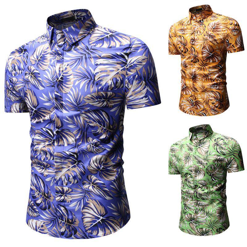2019 Hawaiian Shirt Men Short Sleeve Holiday Shirt Beach Travel Casual Color Big Code Clothes Foreign Trade European Code