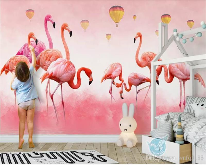 Özel boyut 3d fotoğraf duvar kağıdı çocuk odası duvar flamingo tüy balon boyama resim kanepe TV arka plan duvar kağıdı dokunmamış sticker